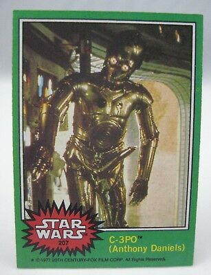 1977 Topps Star Wars — C-3PO Anthony Daniels (X-RATED ERROR) #207 green vintage