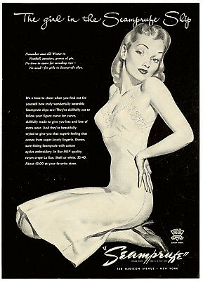 1944 SEAMPRUFE Slip Women's Fashion Lingerie Lovely Lady Vintage 1940s PRINT AD