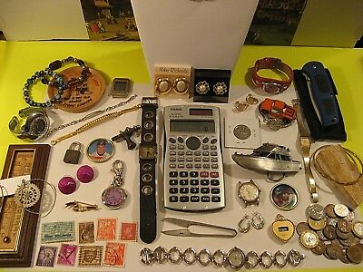 Vintage Junk Drawer Lot/collectibles/watches/jewelry/old Coins/knife And More.