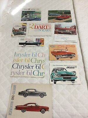 1961 new Car Brochures, Chevy, Plymouth, Olds, More! 10 Different Near  Mint