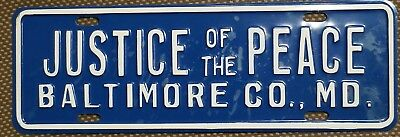Baltimore Co. Maryland Justice Of The Peace License plate Topper Booster