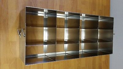 """Thermo Fisher Stainless Steel 12-Position 3"""" Boxes Freezer Rack 398330"""