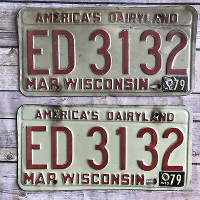 Wisconsin License Plate Pair Lot March 1979 America's Dairyland Vintage