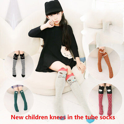 3-12Y Toddler Baby Girls Warm Long Socks Kids Cotton Cartoon Knee High Stockings