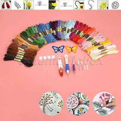 Magic Embroidery Punch Needle Pen Set DIY Craft Tool 50 Color Threads Threaders
