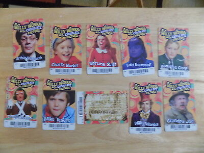 Set of 10 Willy Wonka Arcade Game Cards Golden Ticket