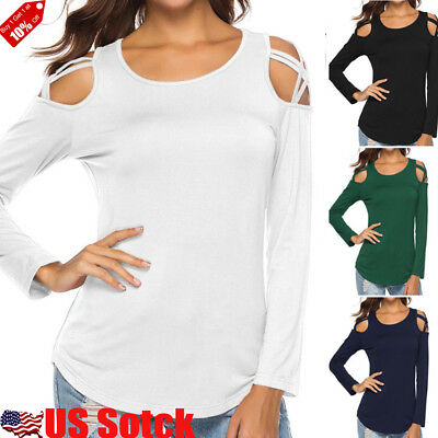 USA Women Ladies Cold Shoulder T-shirt Lace-up Long Sleeve Tee Shirt Tops Blouse