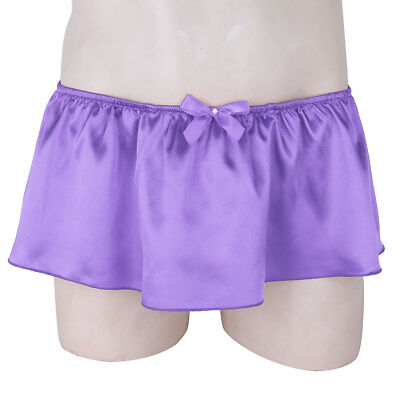 US-Satin Skirted Briefs Mens Lingerie Pouched G-string Thong Underwear Panties