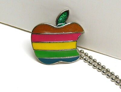 Vintage 1980's Apple Computer Necklace Pendant FAST FREE SHIPPING Mac Macintosh