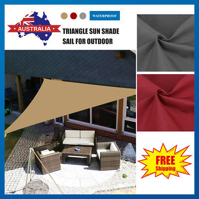 Mulit-Size Extra Heavy Duty Shade Sail Sun Awning Canopy Outdoor Garden Triangle