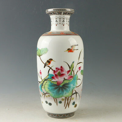 Chinese Porcelain Hand-painted Lotus Vase W Qianlong Mark R1164.a