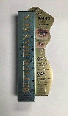 Too Faced - Better Than Sex Waterproof  Mascara, Black- Full Size- NEW