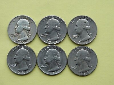 Group of 6 United States one quarter coins 1952 - 1984