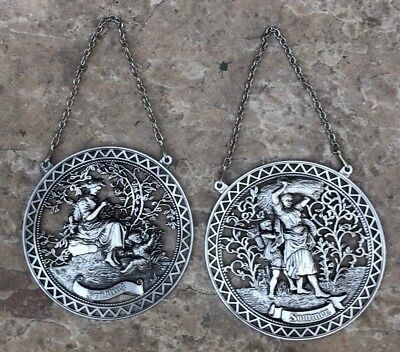 2 Wall Plaque German Country Scenic FRUHLING SOMMER Spring & Summer 95% Pewter