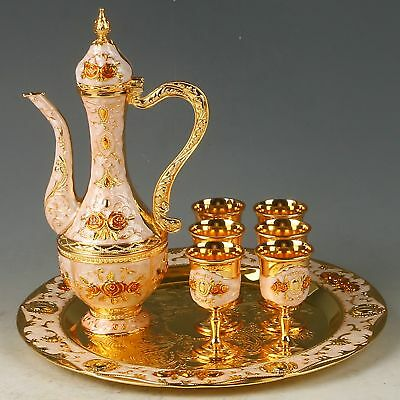 A Set Exquisite Cloisonne Handwork Carved Flower Flagon & Cups & Plate RZ2006