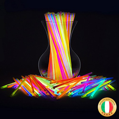 Pacco di 200 Barre Luminose per Party, Braccialetti Fluorescenti Starlight Glow