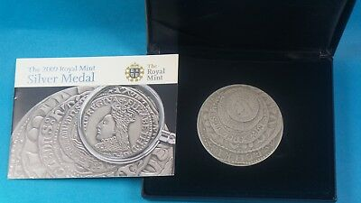 2009 Royal Mint 925 Silver Toned Medal 5 Oz Development Of Coinage Cased & Cert