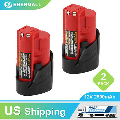 2-Pack New 2.5Ah M12 for Milwaukee 12V XC Lithium Battery 48-11-2402 48-11-2440