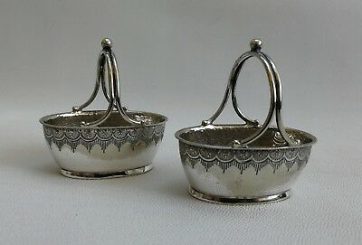 Vintage Pair of HW & Co Silver Plate Basket Salt Cellar Mustard Condiment Dish