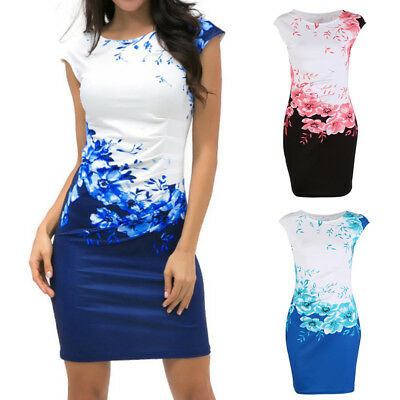 Elegant Women's Office Formal Business Work Party Pencil Mini Dress Slim Bodycon