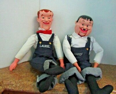 vintage laurel and hardy ventriloquist puppet dummy doll set no box