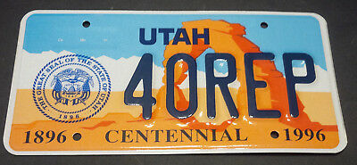 1996 Utah House Of Representatives 40-Rep License Plate