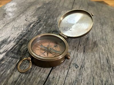 Be Strong and courageous! Brass Antique Marine Compass With Chain Handmade Gift
