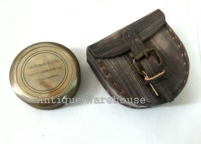 Vintage Nautical Antique Brass Camping Compass With Leather Case