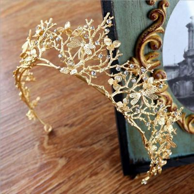 Vintage Baroque Wedding Bridal Hair Accessories Dragonfly Women Gold Crown E3K4