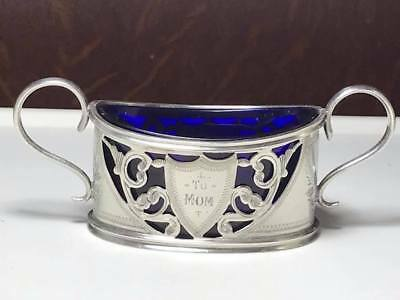 Antique English Sterling Silver Cobalt Blue Salt Cellar