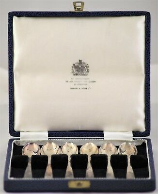 Antique Vintage 6 silver plated spoons in original case Mappin & Webb egg spoons