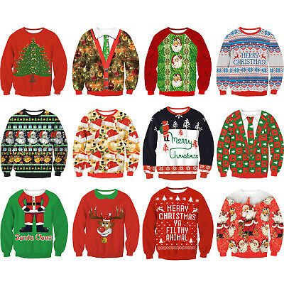 Christmas Xmas Unisex Ugly Sweater Womens Mens Jumper Sweatshirt Pullover Tops