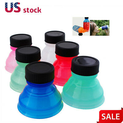 6Pcs Plastic Drinking Bottle Caps Can Convert Soda Savers Toppers Reusable Tops