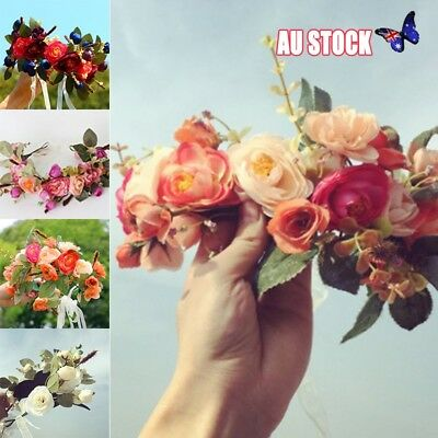 Women Girls Boho Flower Floral Hairband Headband Crown Party Bride Wedding AU
