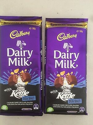 New Special Edition Cadbury Kettle Chocolate Block 2 Pack 190g Sea Salt Chips