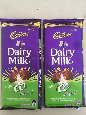 New Special Edition Cadbury CC's Original Chocolate Block 2 Pack 190g Corn Chips