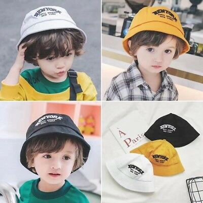 US Toddler Baby Boys Girls Folding Cap Cute Letter Printed Outdoor Sun Beach Hat
