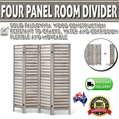 4 Panel Room Divider Privacy Screen Wooden Timber Folding Wall Office Partition