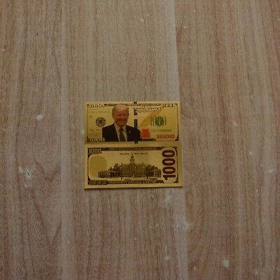 1pc $1000 Dollars Gold Foil Banknotes American Trump Style Collection Bills