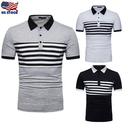 Men's Casual Slim Fit Polo Shirt Tee Short Sleeve Summer Stylish T-shirts Tops W