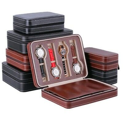 Portable 2/4/8 Grids PU Leather Watch Storage Box Watch Display Case Tray Travel