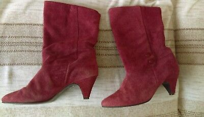 Vintage Barratts Red Suede Leather Boots Burgundy Maroon Pointy Toe UK 6 Buttons