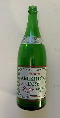 """Rare Canadian (Toronto) """"america Dry"""" Green 30 Oz Pop Bottle - Red & White Acl"""