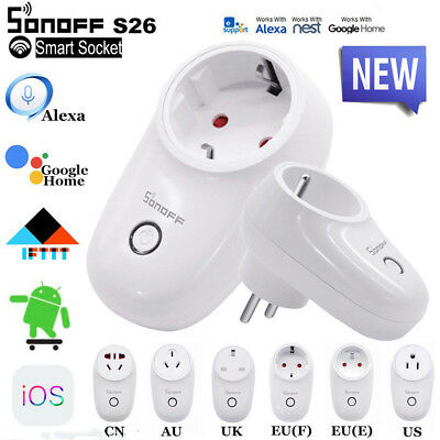 Sonoff S26 UK EU US Plug TFTTT WIFI Smart Power Socket Wireless Time APP Control