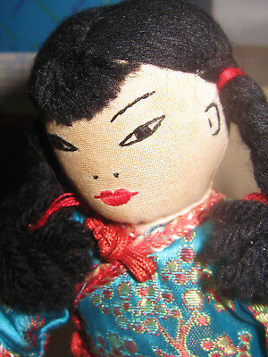 Vintage Cloth Doll, Handmade, Silk Clothes, Chinese Oriental, Excellent Shape