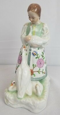 Herend Hand Painted Lady And Geese Swans Figurine