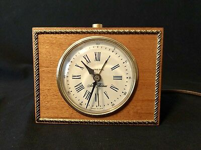 Vintage Seth Thomas Clock Alarm Electric Small QUIET Woodbridge Drowse Wood