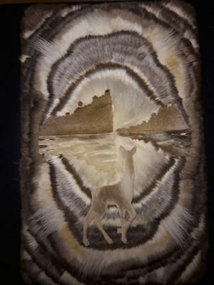 delicacy of ancient picture of wool from deer skin! 1980 year! Very rare!