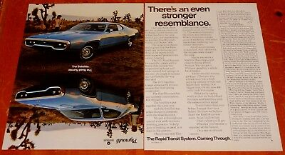 1972 Plymouth Satellite & Roadrunner Cool Vintage Ad - American 70S Muscle Car