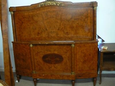 Stunning Antique French Inlaid & Ormolu Mahogany Large Double Bed With Columns